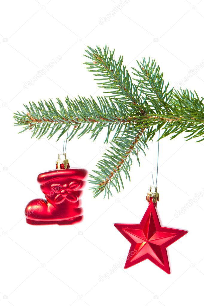 Christmas decoration hanging from a tree — Stock Photo #7656483