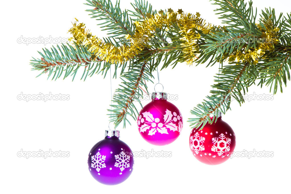 Decorated christmas branch isolated on white background  Stock Photo #7656560