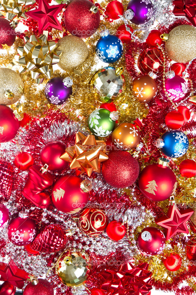 Background made of christmas balls and tinsel — Stock Photo #7656585