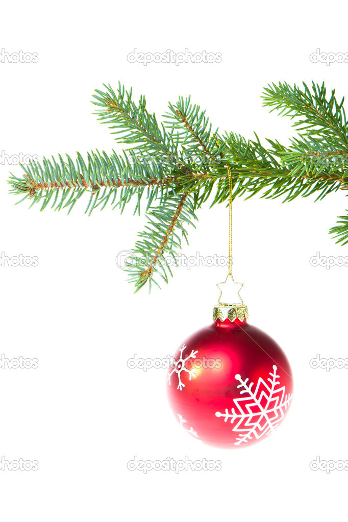 Christmas ball on branch isolated on white background — Stock Photo #7656764