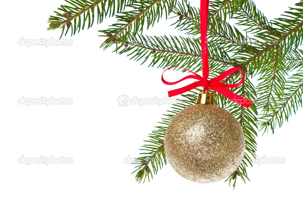 Christmas ball shanging from fir tree isolated on white background — Stock Photo #7656773
