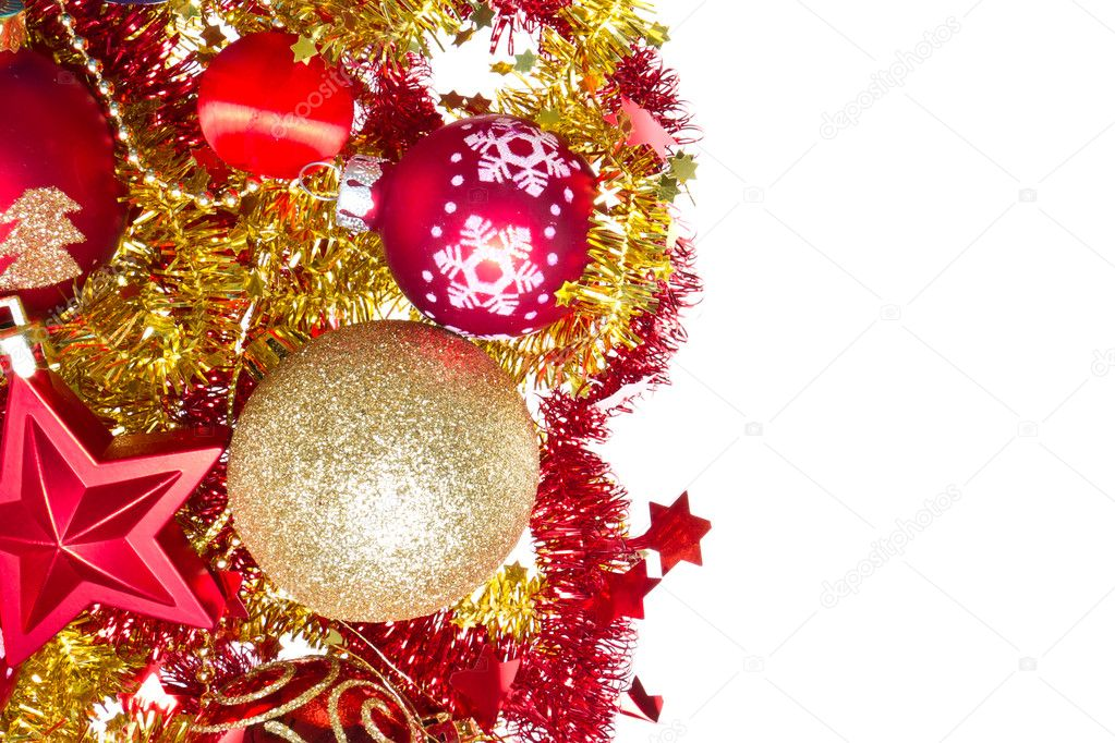 Background made of christmas balls and tinsel — Stock Photo #7656787