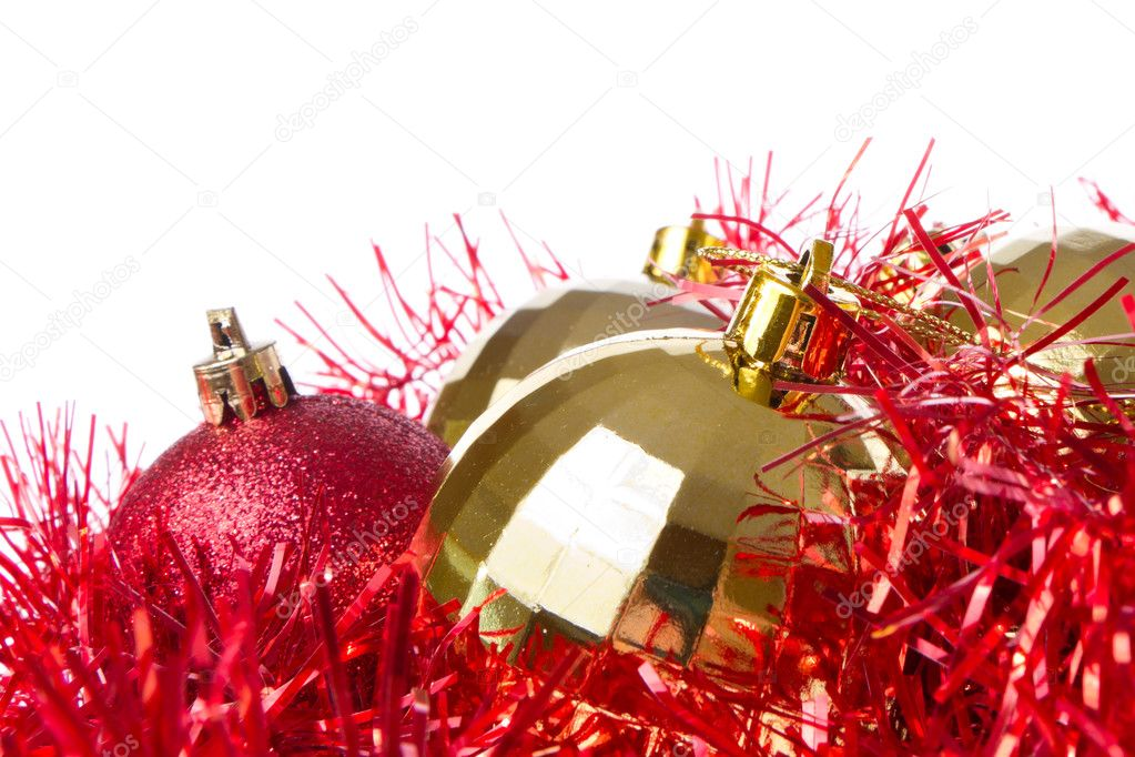 Christmas balls with tinsel isolated on white background — Stock Photo #7657225