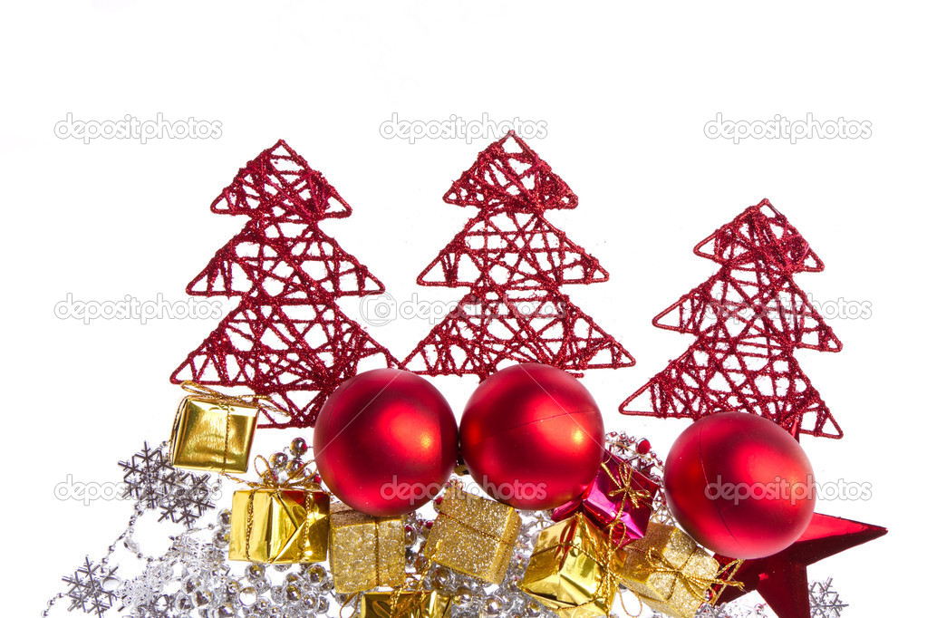 Christmas decoration with trees and balls isolated on white background — Stock Photo #7657609