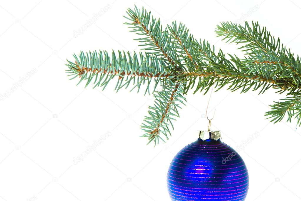 Christmas ball on branch isolated on white background — Stock Photo #7657904