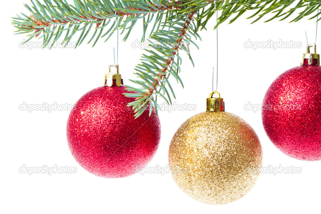 Red christmas ball hanging from tree isolated on white background — Stock Photo #7657914