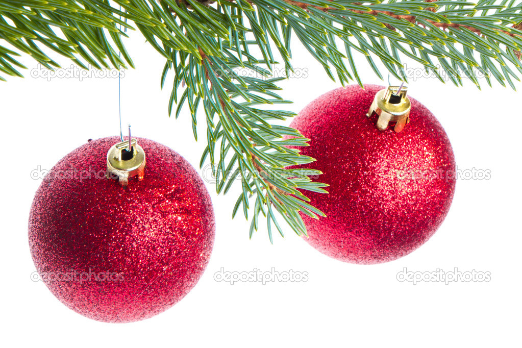 Red christmas ball hanging from tree isolated on white background — Stock Photo #7657918