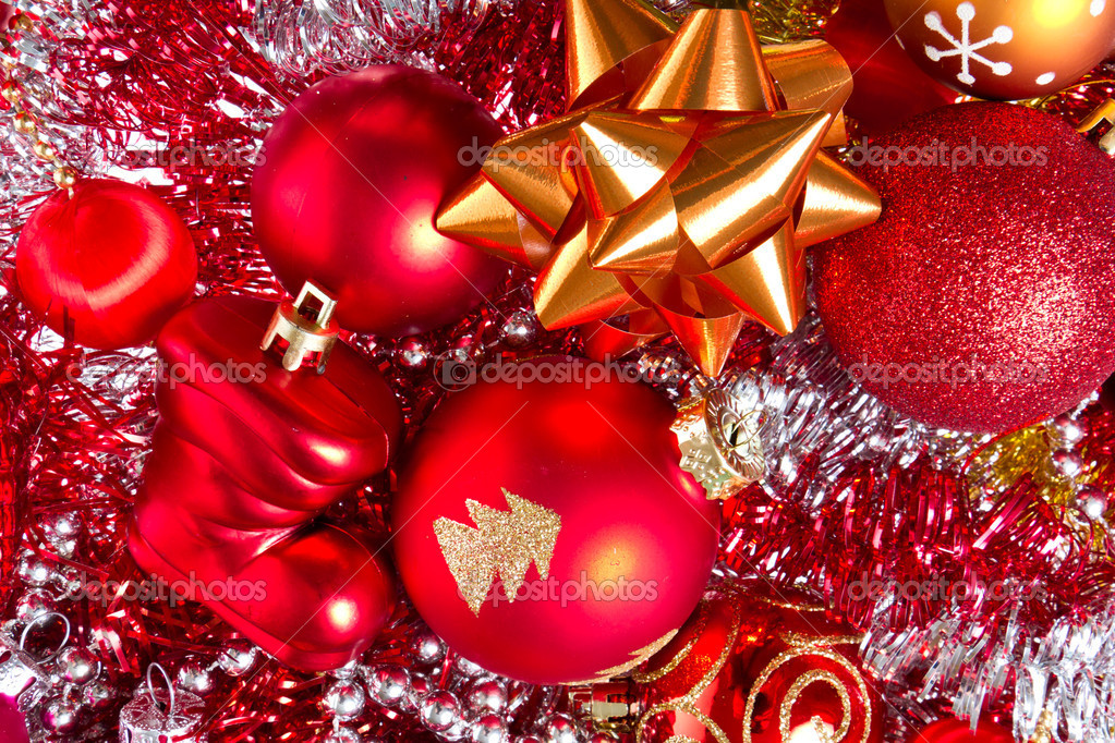 Background made of christmas balls and tinsel  Stock Photo #7657941