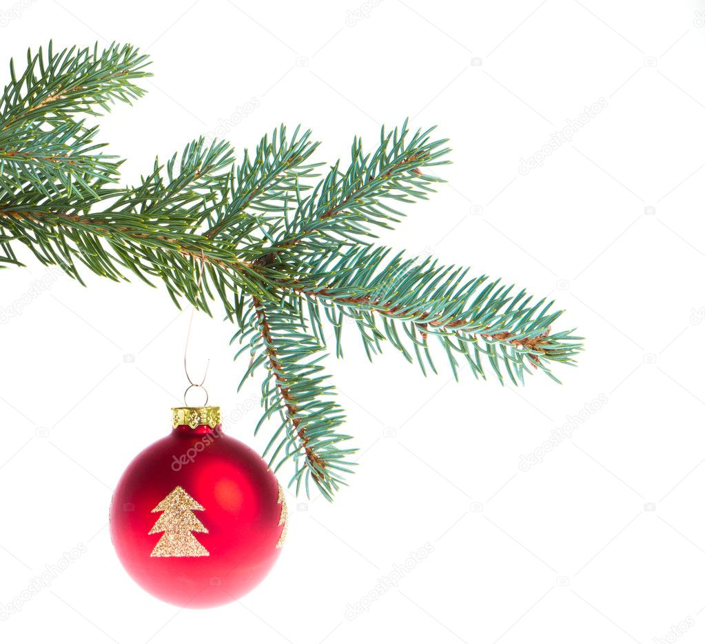 Christmas ball on branch isolated on white background — Stock Photo #7657948