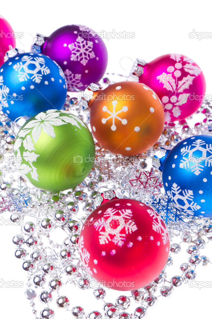 Christmas balls with tinsel isolated on white background — Stock Photo #7657962