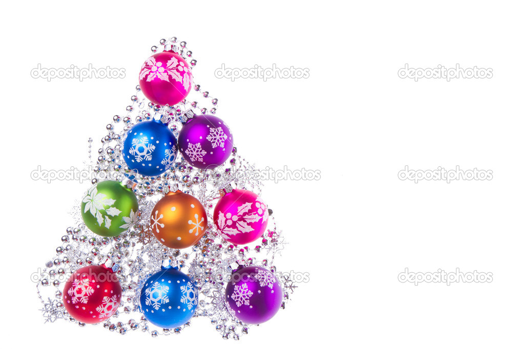 Christmas balls with tinsel isolated on white background — Stock Photo #7658114