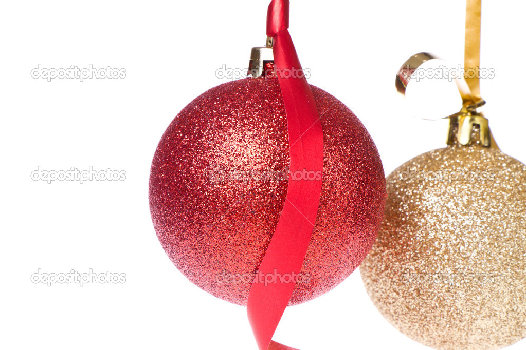 Christmas balls with ribbon isolated on white background  Stock Photo #7658153