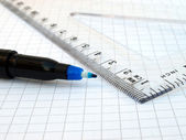 Pen, ruler and notebook — Stock Photo