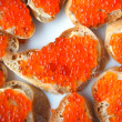 Sandwich with salmon roe — Stock Photo