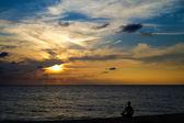Meditation on sunset — Stock Photo