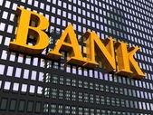 Building and sign bank — Stock Photo
