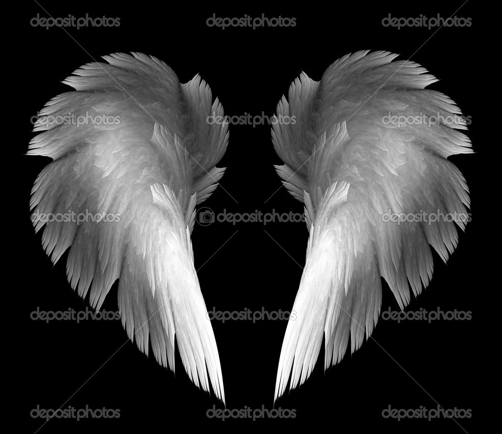 Light angel wings on a black background  Stock Photo #7310406