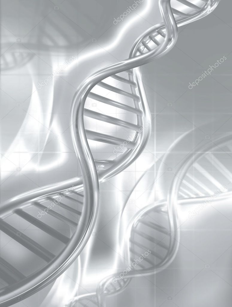 Silver DNA strands on abstract medical background — Stock Photo #7586133