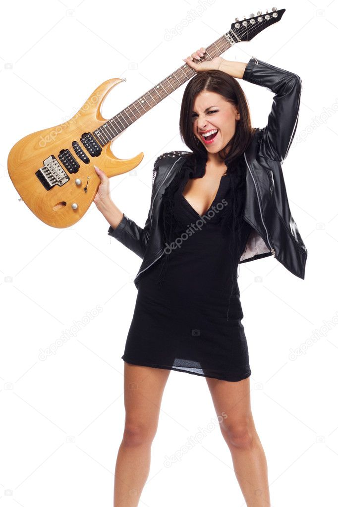 Sexy lady with a guitar, isolated on white background — Stock Photo #6952388