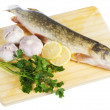 Raw pike with cooking ingredients - Photo