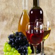 Wine and grapes on vintage background — Stock Photo #7364604