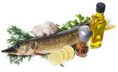 Rå gädda med matlagning ingredienser — Stockfoto