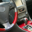 Stock Photo: Steering wheel and gear shift stick