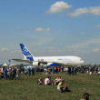 A new Airbus A-380 plane prepares to take off — Foto de Stock