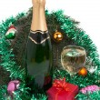Champagne and christmas tree decorations — Stock Photo #7850434