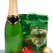 Champagne, gifts and decorations — Stock Photo