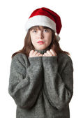 Girl in sweater and hat Santa Claus — Stock Photo