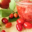 Jam with fruits of cornel and apples - Stock Photo