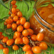 Jam with fruits of sea buckthorn — Stock Photo