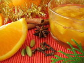 Orange marmalade with christmassy spices — Stock Photo