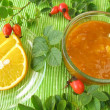 Jam with rose hips and oranges - Stock Photo