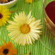 Fruit tea with flowers from marigolds — Stock Photo
