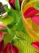 Green tea with rose flowers and lemon verbena — Stock Photo