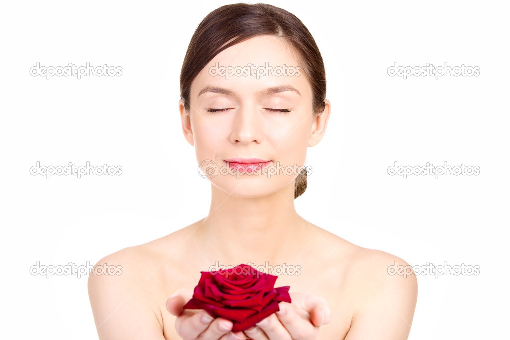 Beautiful woman with red rose in her palms isolated on white  — Stock Photo #6746037