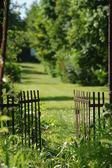 Gate at garden — Stock Photo