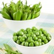 Green sweet organic peas - Stock Photo