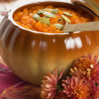 Pumpkin soup with seeds — Stock Photo