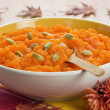 Stock Photo: Pumpkin soup with seeds
