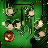 Electronic circuit close-up. Macro background — Stock fotografie