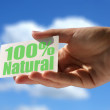 Card with 100% natural inscription — Stock Photo