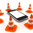 Phone with traffic cones — Stock Photo