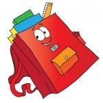 Cartoon school bag - Векторная иллюстрация.