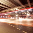 Stock Photo: Light trails under the viaduct bridge