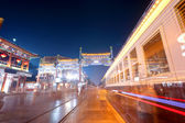 Old commercial street at night in beijing — Stock Photo