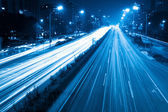 Light trails with blue tone — Stock Photo
