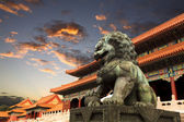 The forbidden city with sunset glow in beijing — Stock Photo